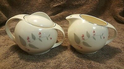 Mid Century Modern Creamer and Sugar Blue Ridge Southern Pottery