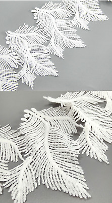 White Embroidered 13cm Feather Trim Tassel Fringe DIY Lace Craft Price per 30cm