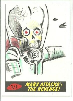 2017 Topps Mars Attacks The Revenge ! Martian Sketch Card by Brent Scotchmer