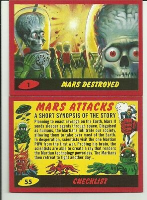2017 Topps Mars Attacks The Revenge 55 Card Red Parallel Insert Set #ed / 99