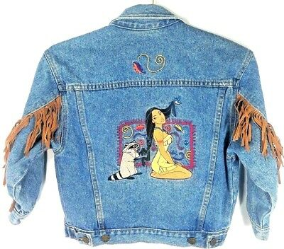 Vintage Disney Pocahontas Fringe Denim Jean Jacket Youth Girls Large Rare