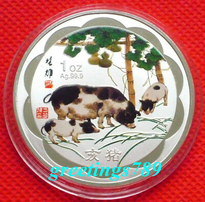 45mm Chinese Lunar Zodiac Colored Silver Coin Token - Year of the Pig