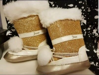 juicy couture baby girl booties gold 6-12m