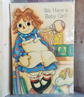 1 pack Hallmark Raggedy Ann Girl BIRTH ANNOUNCEMENTS 8 Cards with Envelopes USA