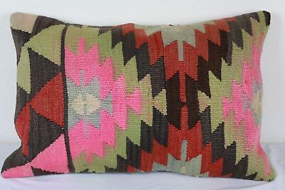 Turkish Kilim Lumbar Pillow 24x16, Kilim Rug Lumbar Cushion Cover