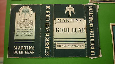 Vintage Old Cigarette Packet Label, Martins Of Piccadilly, Gold Leaf Brand
