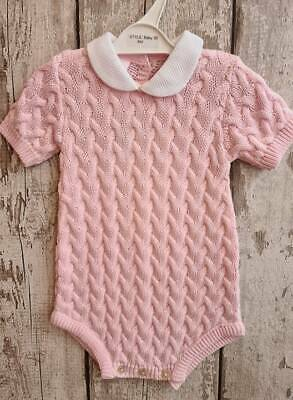 Baby Girl Spanish Style Knitted Romper with Peter Pan Collar