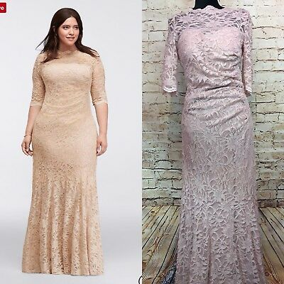 42e0e34cc356 NightWay David's Bridal Mermaid Gown Long Glitter Sheer Lace Mother of  Bride 14