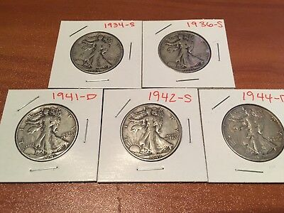 Lot of 5 Walking Liberty Half Dollars - 1934-S, 1936-S, 1941-D, 1942-S, 1944-D