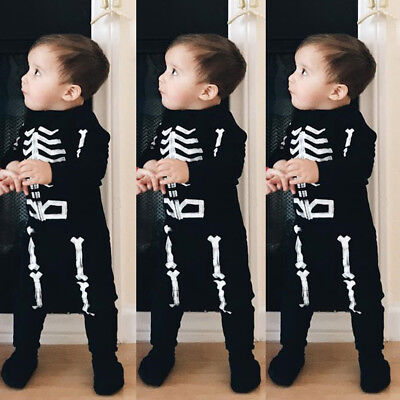 USA 2PCS Causal Kids Baby Boys Bone Clothes T-Shirt+Trousers Sports Pants Outfit