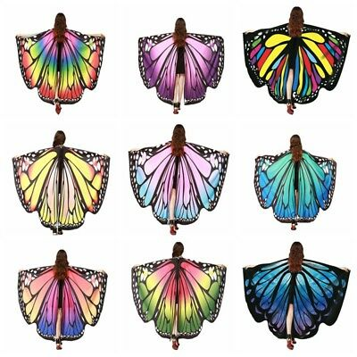 Colorful Soft Fabric Butterfly Wings Shawl Fairy Nymph Pixie Party Costume Hot