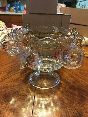 Mosser Glass Cherry & Cable Mini Punch Bowl Set