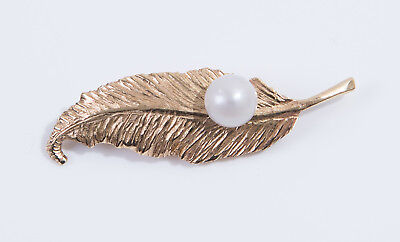 Vintage C1980s 9ct Yellow Gold & Cultured Pearl Leaf Brooch - Stacey N O'Gorman
