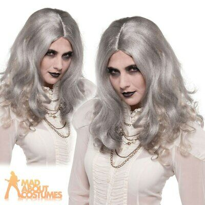 Adult Zombie Woman Wig Grey Dead Bride Halloween Fancy Dress Ladies