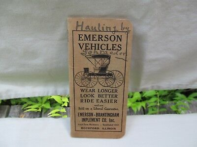 Early 1900s Emerson Horse Buggy Memo Booklet / EMERSON-BRANTINGHAM IMPLEMENT CO.