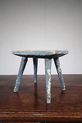 English 18th Century Antique Primitive Stool.