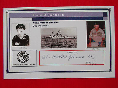 Harold Johnson WW2-Pearl Harbor 7.12.1941 USS Oklahoma Veteran original signiert