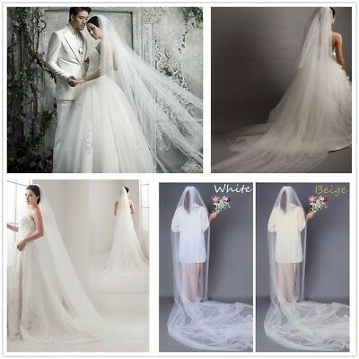 2-5m Bridal Wedding Lace Photo Party 2Tier White Ivory Long Veil With Elbow Comb