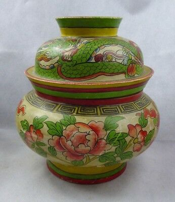 Chinese / Peranakan Wooden Dragon Container Pot Hand Painted Straits S E Asian