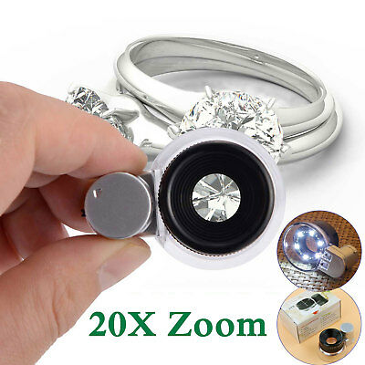 Adjustable 20X Zoom LED Magnifier Magnifying Glass Loupe Jeweler Watch Eye Lens