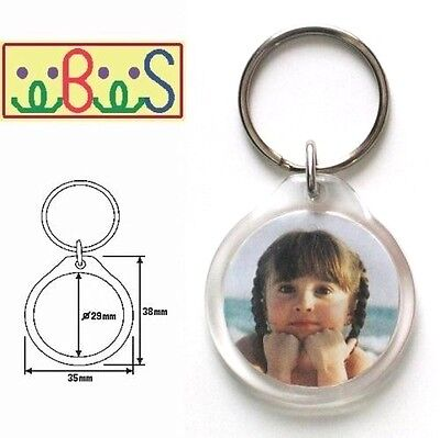 6x Blank Round Clear Acrylic Keyrings 29mm Photo Size (key ring plastic) 09011