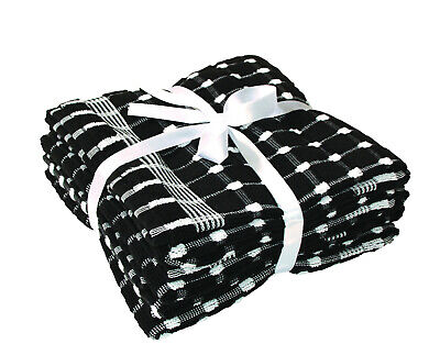 Pack of 4 BLACK & WHITE Check 100% Cotton Extra Large Kitchen Terry Tea Towels