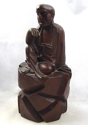 Chinese Antique FINE carved Hard wood Lohan Figure - 19th century Qing Buddha