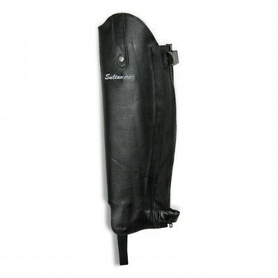 Sultan Equestrian Horse Riding Premium Leather Black Half Chaps Gaiters All Size