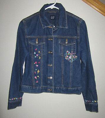 Girls Gap Kids XXL size 12  14 16 Butterfly Embroidered Jean Jacket!