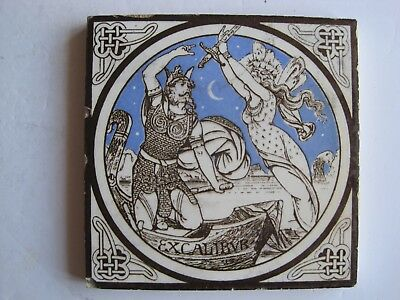 ANTIQUE VICTORIAN MINTONS TILE - EXCALIBUR (J MOYR SMITH) c1876