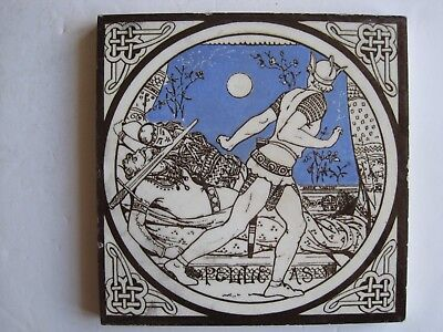 ANTIQUE VICTORIAN MINTONS TILE - PELLEAS (J MOYR SMITH) c1876
