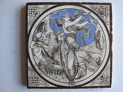 ANTIQUE VICTORIAN MINTONS TILE - VIVIEN (J MOYR SMITH) c1876