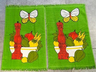 Green Butterfly Vegetables Kitchen Towel Set Of 2 Mod Yellow Orange  Peppermill