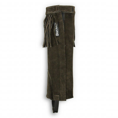 Sultan Equestrian Horse Riding Fringed Half Chaps Brown Suede Leather Gaiters