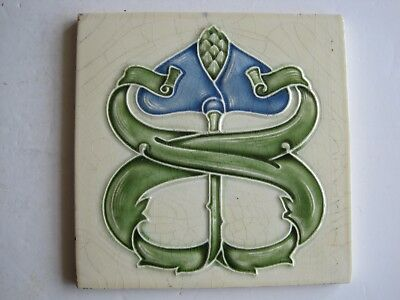 ANTIQUE ART NOUVEAU RELIEF MOULDED TILE - MARSDEN TILE CO. c1907-8