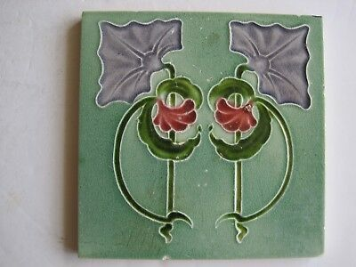 ANTIQUE ART NOUVEAU MAJOLICA GLAZED MOULDED TILE - J.H.BARRATT CO. c1907