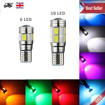 T10 501 W5W Car Side Bulbs Light Error Free Canbus 6 & 10Smd Led Xenon Hid White