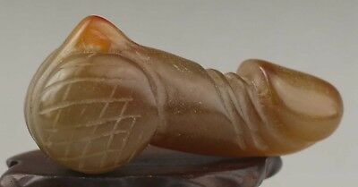 Chinese old natural jade hand-carved dragon design statue 2.7 inch