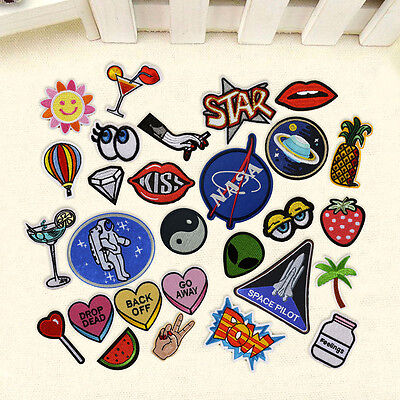 Cute DIY Embroidered Sew On Iron On Patches Badge Clothes Fabric Applique Craft