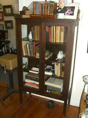 Antique Stained Oak China Cabinet 3 Shelves w/ 3 sides glass c.1930's Depression