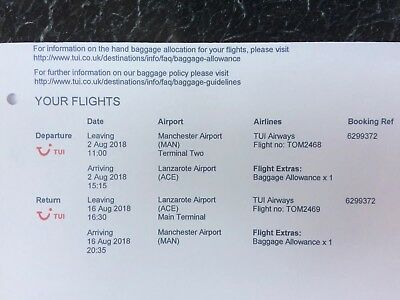 Flight tickets - 1 x adult return with TUI travel - Manchester to Lanzarote