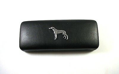 Greyhound Pewter Motif On Black Solid PU Glasses Case Mother Father Xmas Gift