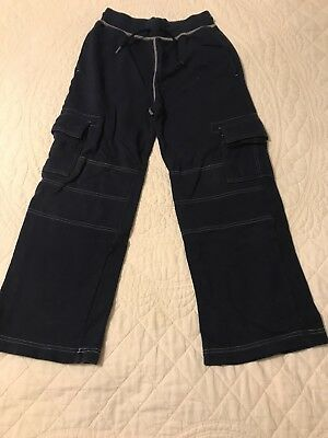 Hanna Andersson boys 140 9 10 double knee sweatpants cargo pants blue pull on