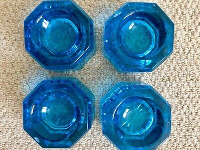 Four Teal Blue Victorian Glass Piano Insulatos Coasters Rests
