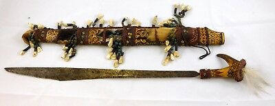 Dayak Headhunter Indonesia Borneo Tribal Mandau Sword Teeth Sheath Philippines