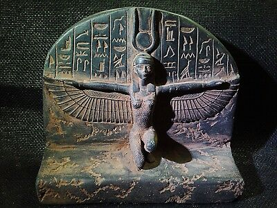 EGYPTIAN ARTIFACT ANTIQUITIES WINGED ISIS Goddess Of Love STELA 1200–1085 BC