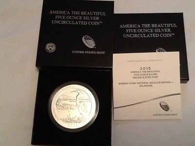2015-p Atb 5 Oz Silver Coin-Bombay Hook National Wildlife Refuge. Delaware