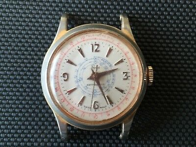 Vintage Rare Basis Stop Telescopic 1950's Chronograph Watch Swiss Made Working