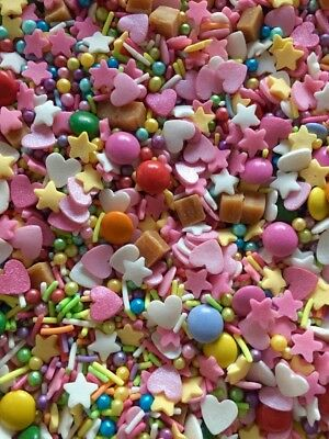 Cupcake Cake Sprinkles Pick n Mix Pink Hearts Fudge Birthday  Edible Topper