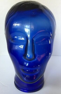 "Vintage 10"" Blue Tinted Clear Glass Head. Great for displays or decorating"